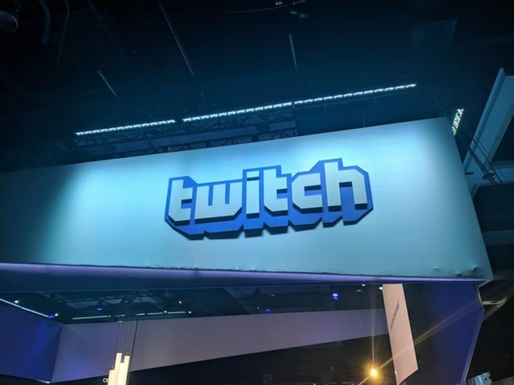Picture of a Twitch sign hanging from the ceiling