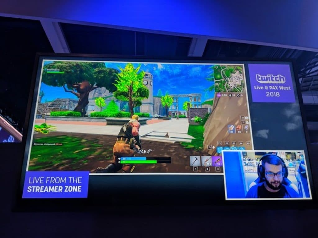 Streamer playing Fortnite at a PAX West event