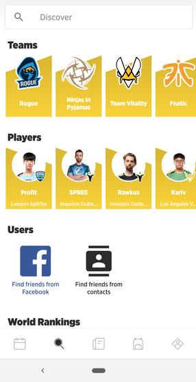 screenshot of the strafe esports app