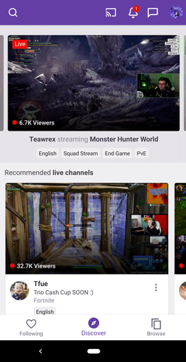 screenshot of twitch mobile apps