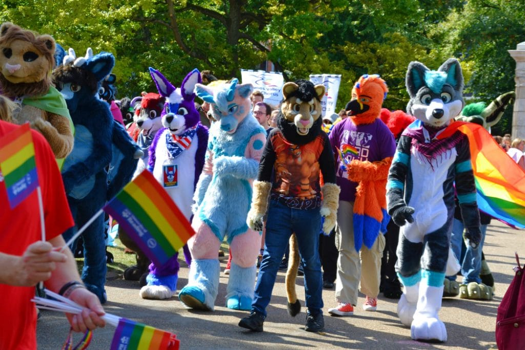 Group of people dressed in various fursuit costumes styles