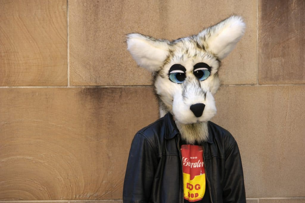 Person wearing a fox fursuit and a black jacket