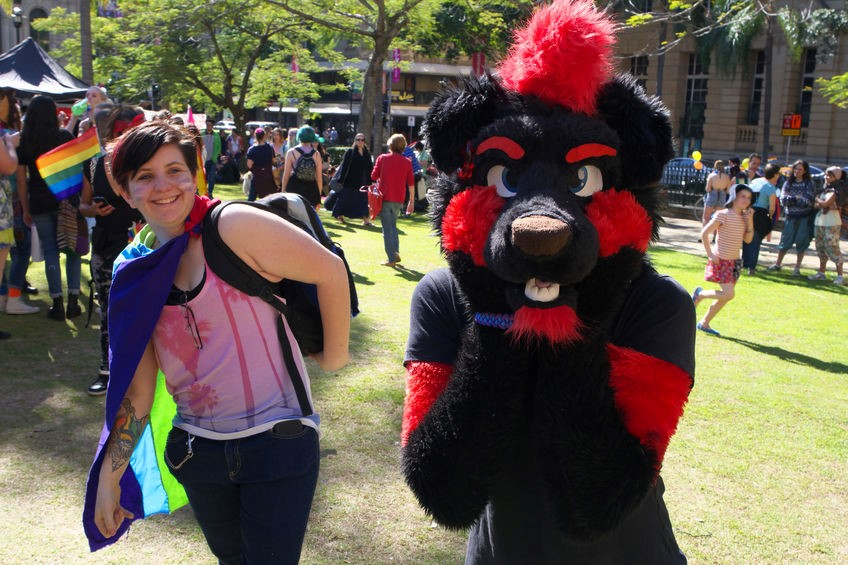 Red and black custom Furry costume