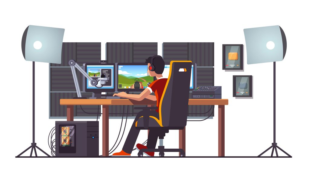 Animated graphic of male streamer sitting a computer