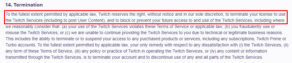 Twitch Terms Of Service Section 14