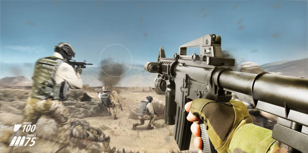 FPS game scene with soldiers in a desert